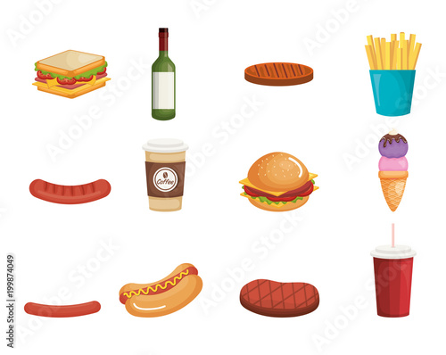picnic party set products vector illustration design