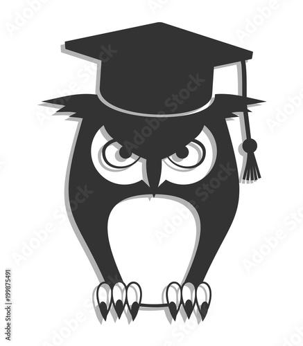 Foto op Plexiglas Uilen cartoon owl student icon