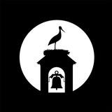 stork in tower bell illustration