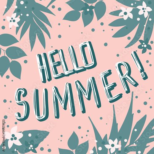 Witam lato kartkę z życzeniami, zaproszenie, zaproszenia z liści palmowych, kwiatów i napis. Projekt tropikalnej dżungli. Ilustracji wektorowych.