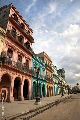Foto op Canvas Havana Colorful buildings and historic colonial archtiecture on Paseo del Prado, downtown Havana, Cuba.