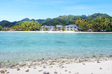 Landscape view from a boat of Muri lagoon beach in Rarotonga Cook Islands - 199881488