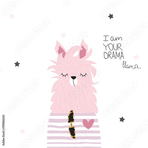 Funny llama with lettering. Vector hand drawn illustration.