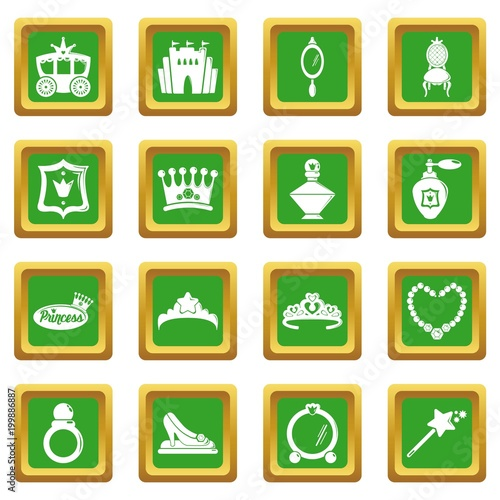 Princess doll icons set green square vector