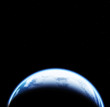 Space scene with Earth on black background with stars - 199888832