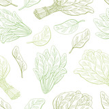 Spinach graphic green color seamless pattern background sketch illustration vector - 199890296