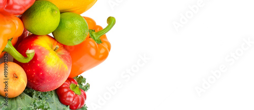 Foto op Aluminium Verse groenten Fruits and vegetables isolated on a white background. Free space for text. Wide photo.