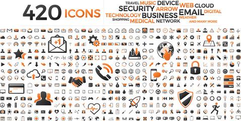 Black and orange web business technology icons set