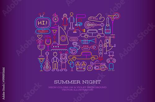 Plexiglas Abstractie Art Summer Night vector illustration