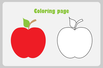 Red apple in cartoon style, coloring page, education paper game for the development of children, kids preschool activity, printable worksheet, vector illustration