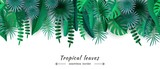 Tropical leaves Seamless border Cut paper Vector illustration - 199895496