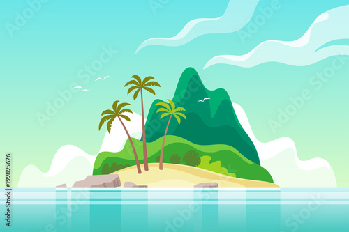 Tropical island with palm trees. Summer vacation. Vector illustration. - 199895626