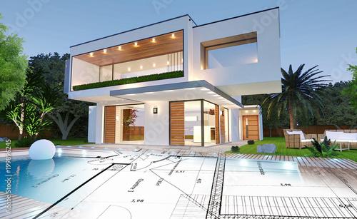 Plan nowoczesnego domu architekta z basenem