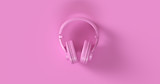 Pink Headphones 3d illustration	 - 199896450