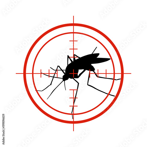 Mosquito in red target. Anti mosquitoes, dengue epidemic insect control vector symbol isolated - 199896639
