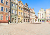 facades of medieval houses on the central market square in Poznan, Poland
