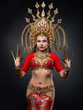 The girl in the national costume of Thailand