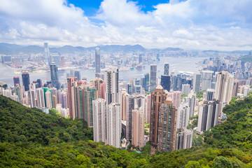 Hong Kong city, aerial view, Victoria Peak