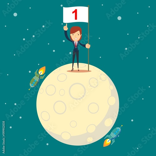 Fototapeta astronaut girl moon landing. a businesswoman conquered the moon. Happy businessman holding number one flag. Start up business concept. Stock flat vector illustration.