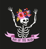Skeleton in the floral wreath. Vector holiday illustration for Day of the dead or Halloween. Funny card design. - 199903418