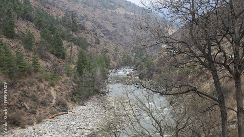Fotobehang Donkergrijs Bhoutan Paysage