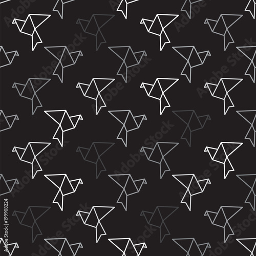 Cotton fabric Birds outline on black seamless pattern background. Bird pattern background.