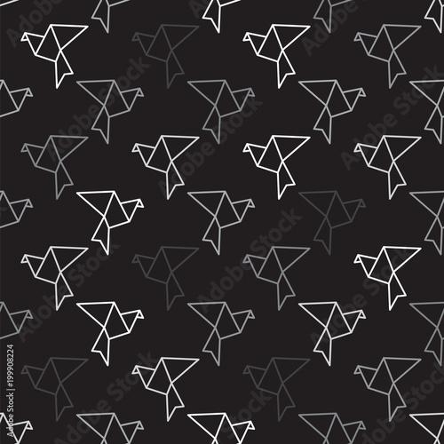 Cotton fabric Birds outline on black seamless pattern background. Bird pattern background.