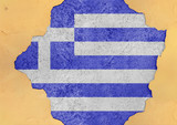Greece flag abstract in facade structure big damaged grudge concrete cracked hole - 199910842