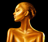 Fashion art golden skin woman portrait closeup. Gold, jewelry, accessories. Model girl with golden glamour shiny makeup - 199912227