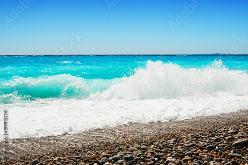 Fotobehang Nice Beautiful beach in Nice, France.