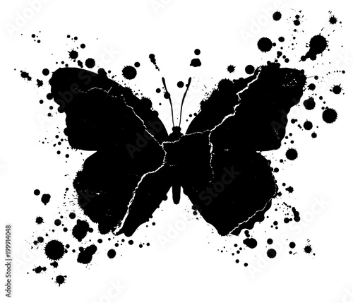 Foto op Aluminium Vlinders in Grunge Grunge butterfly shape and paint blobs splattered