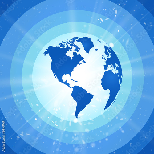 abstract world globe, blue planet earth with starburst america view