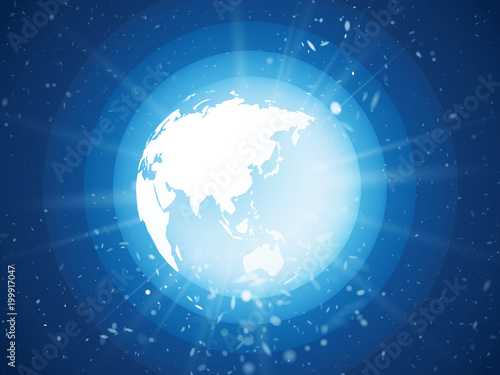 internet concept of global business, blue planet earth with starburst asia view