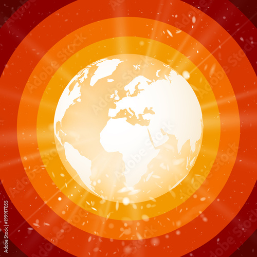 internet concept of global business, planet earth with starburst on red background