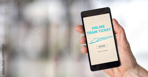 Online train ticket concept on a smartphone