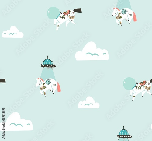 Cotton fabric Hand drawn vector abstract graphic creative cartoon seamless pattern with cosmonaut unicorns and alien spaceship flying in blue sky with clouds isolated on blue background