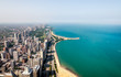 Top view of Michigan lakefront and Chicago Skyline with skyscrapers, Illinois, USA