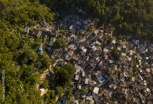 Aerial view of Favela Santa Marta in Rio de Janeiro, Brazil