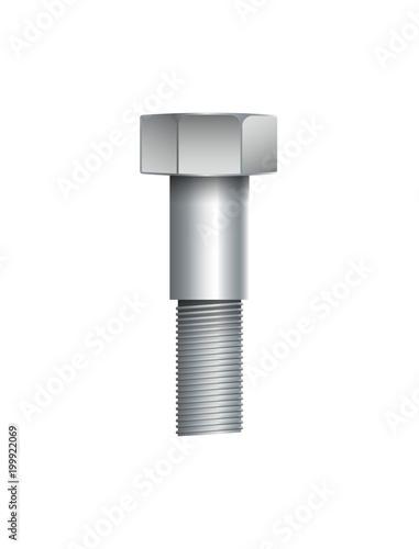 Metallic bolt isolated on white background. Construction hardware vector illustration.