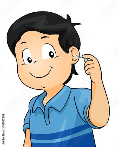 Kid Boy Clean Ear Illustration - 199927204