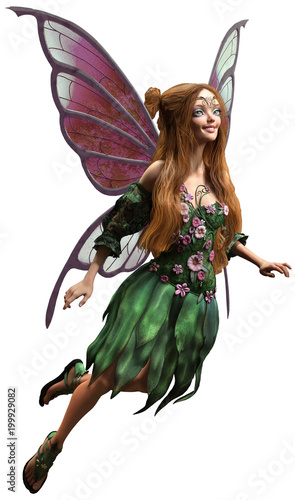 Fairy in green dress 3D illustration - 199929082