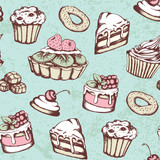 Vintage seamless pattern with sweets