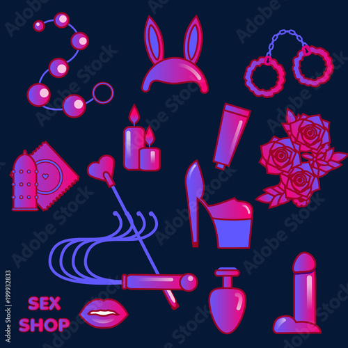 Sex shop icons. Erotic symbols. Adult games and toys