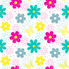 Flower seamless patterns.Seamless pattern included in swatch panel.Vector background.