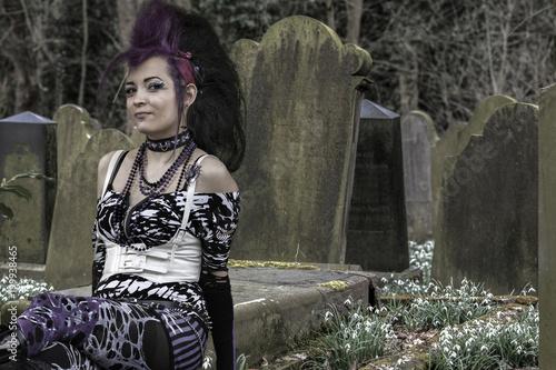Leinwanddruck Bild Gothic Friedhof Grabsteine