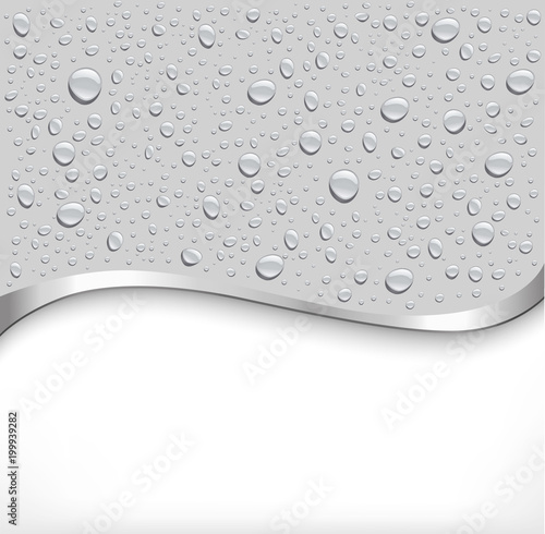 water drops on grey background and place for your text