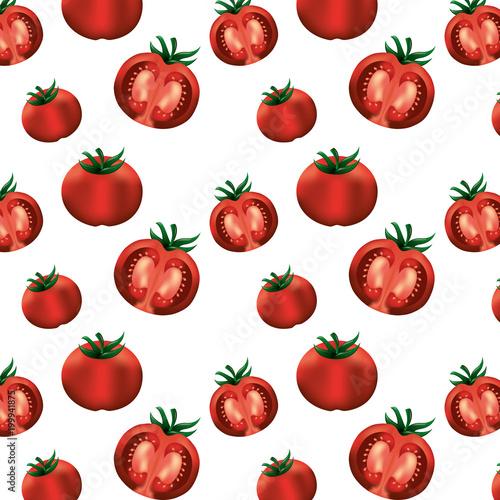 tomato fresh healthy food pattern vector illustration design