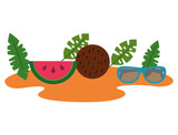 beach with watermelon and coconut vector illustration design