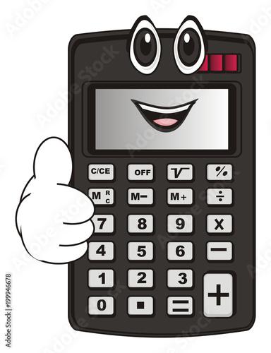 calculator, computer, mathematics, economics, school, business, cartoon, illustration, face, happy, cool - 199946678