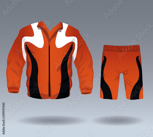 Aluminium Fitness Fitness sport wear jacket and short pants for male vector illustration graphic design